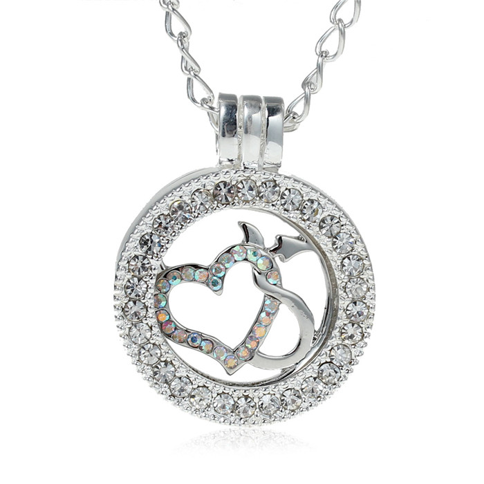 Heart Pattern Design Silver Plated Clear AB Color Pink Rhinestone Amazing Locket Pendants Necklace For Coin/ Disc Setting