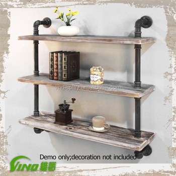 Vintage Wooden Wall Gondola Shelf Iron Shelving Tiers Rustic Timber Antique Metal