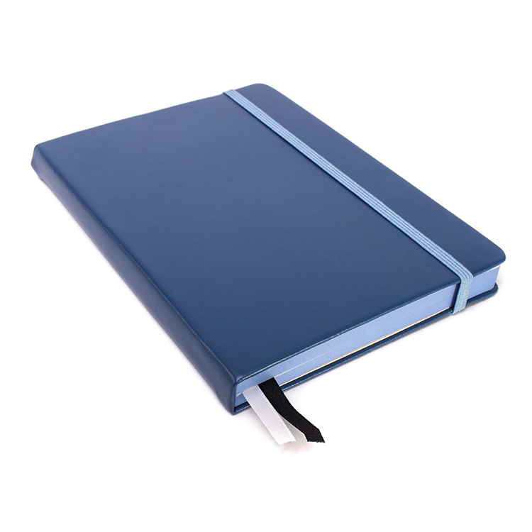 Classic blue faux Leather hard cover bound writing journal/notebook
