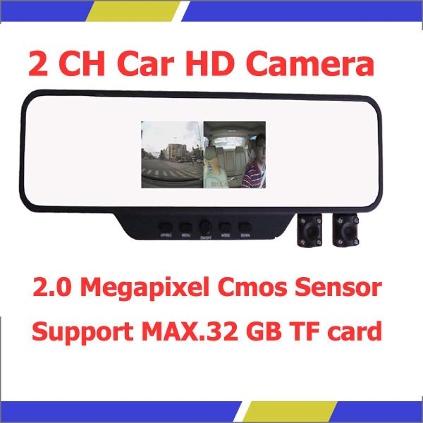 1280 * 640 2.0 Megapixel Dual Lens Support 32G TF Card Vehicle Traveling Data Loop Recorder with 2 Camera Portable Car DVR