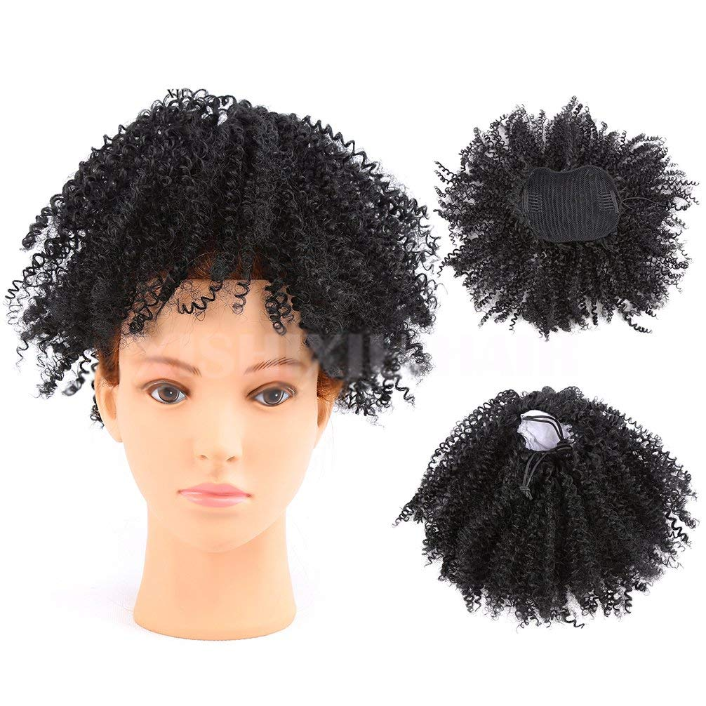 Synthetic Hair Afro Puff Ponytail Extensions For Black Women Kinky Curly Drawstring Hair Ponytail Hairpieces Natural Kinky Curly Clip in Ponytails (Black)