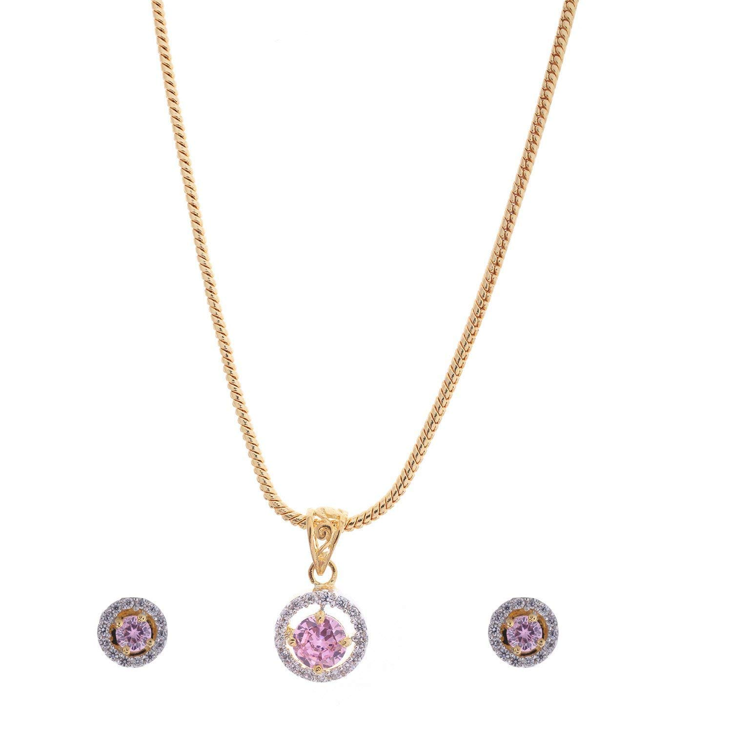 Handicraft Kottage Women's 22 K Gold & Rhodium Plated Pink Sapphire & American Diamond Pendant Set with Earrings & Chain