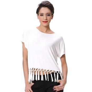 8bc51a48 New Design Women T-shirt Lady Fringe Top Girl White T Shirt - Buy ...