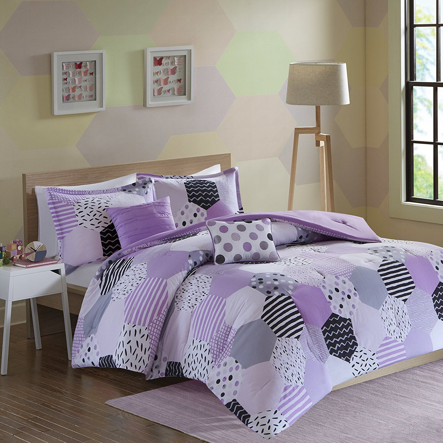 PH 5 Piece Girls Purple Grey Geometric Comforter Full Queen Set, White Black Stripe Dots Motif Weave Design Hexagon Solid Color Reversible Kids Bedding Teen Bedroom Casual Elegant Cozy, Cotton