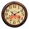 Qingfeng Hot Sale Retro Vintage European Style Wall Decorative Round Shape Wooden Antique Clock