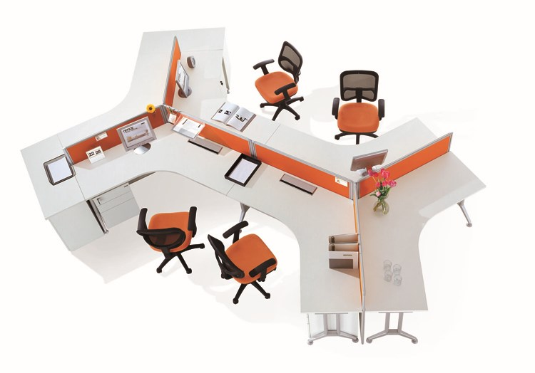 Poste de travail de center dappels longue table 120 degrés poste de