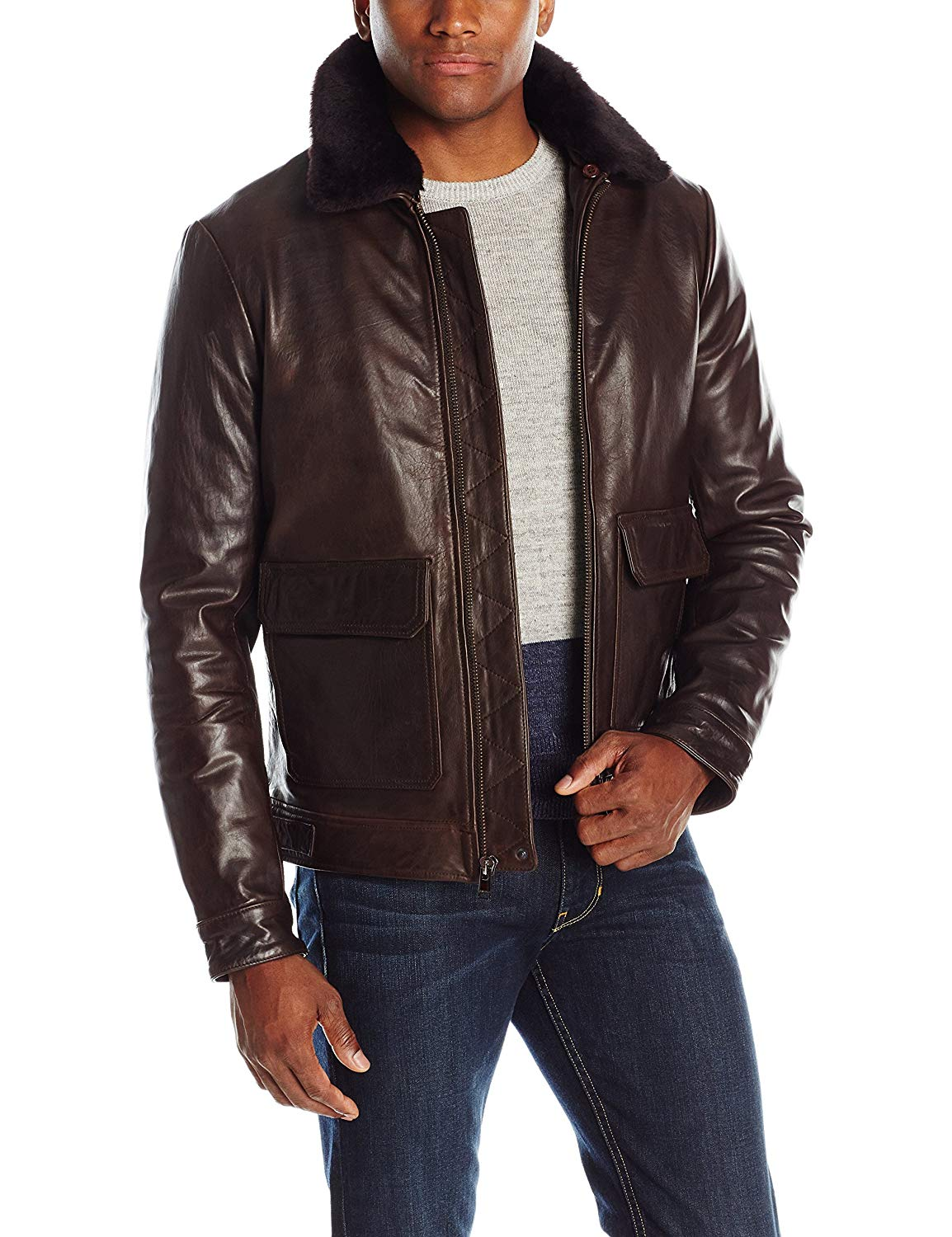 LAMARQUE Men's Elvey Classic Cowhide Aviator Jacket With Sheepskin Shearling Removable Collar