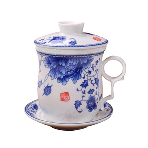 Chinese blue and white office Tea Cup with ceramic filter