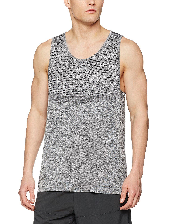 53a3f79764a5e Get Quotations · Nike Dri-FIT Knit Men s Running Singlet Black Heather Grey