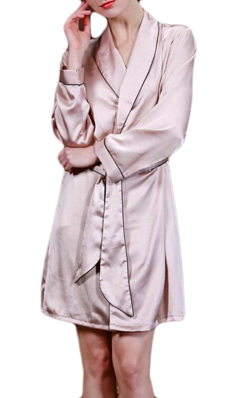 6830989d08 Buy LAPAYA Womens Satin Robes Shawl Collar Long Sleeve Lightweight ...