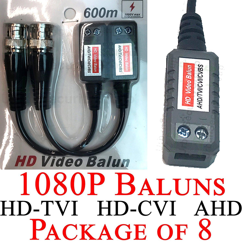 USG Premium Pack of EIGHT (8x) HD 720P 1080P CCTV Baluns Transceivers : BNC + 2-Wire Screw Terminal : HD Video Over Network Cable : Passive : Transmit 1080p Video Signal : HD-TVI, HD-CVI, AHD