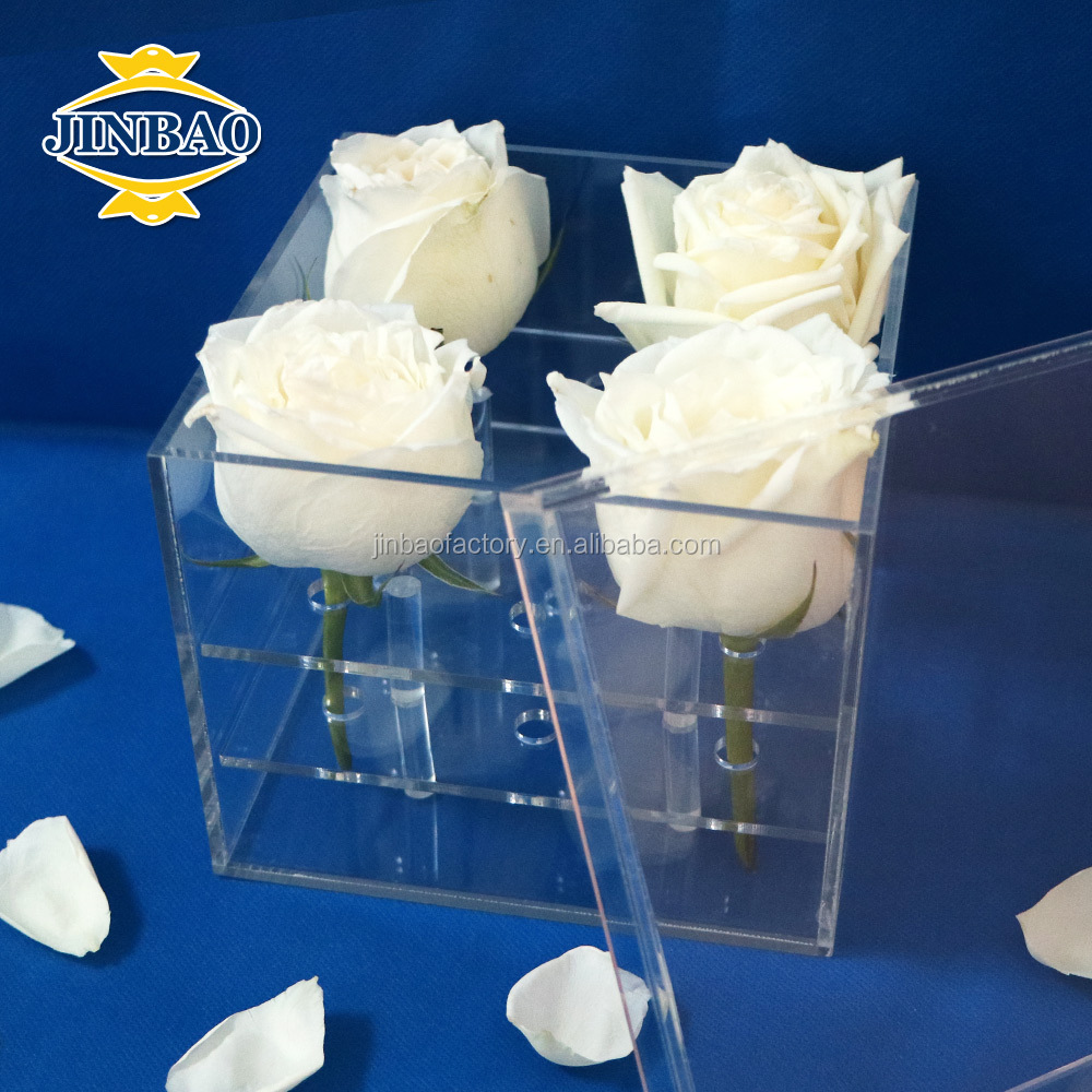 JINBAO OEM clear flowers acrylic cube box,transparent acrylic rose box <strong>display</strong>