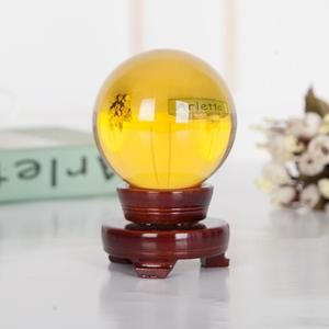 New design yellow glass ball living room decoration Fengshui crystal ball home accessories birthday gift