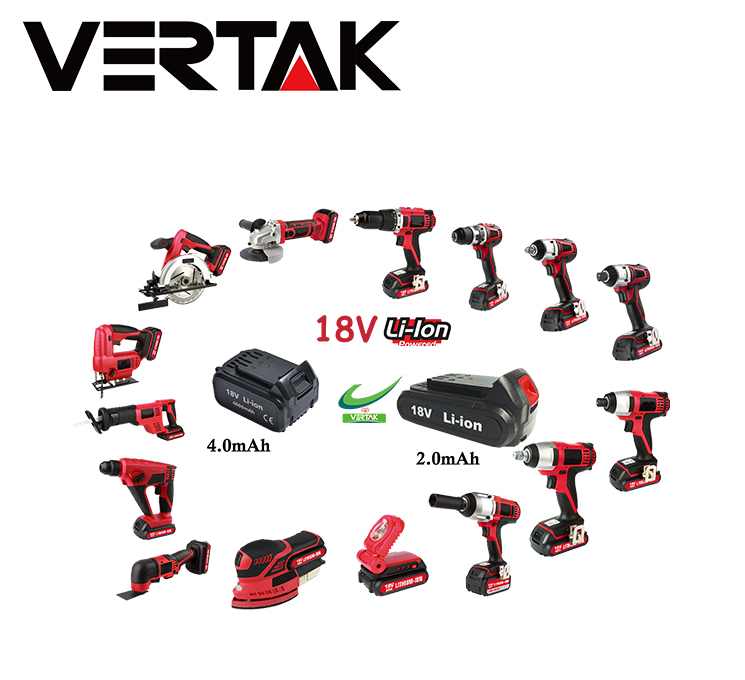 Vertak 18V cordless lithium-ion 2000mah battery reciprocating saw with quick charger