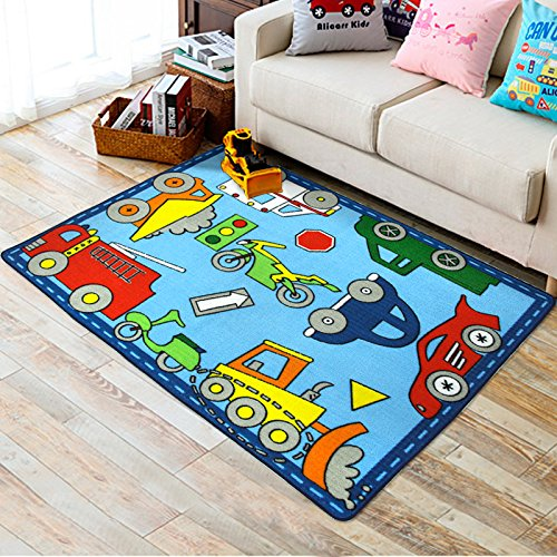 Blue Kids Rug Learning Carpets City Life Play Carpet Children's Area Rug with Car Motorcycle Truck