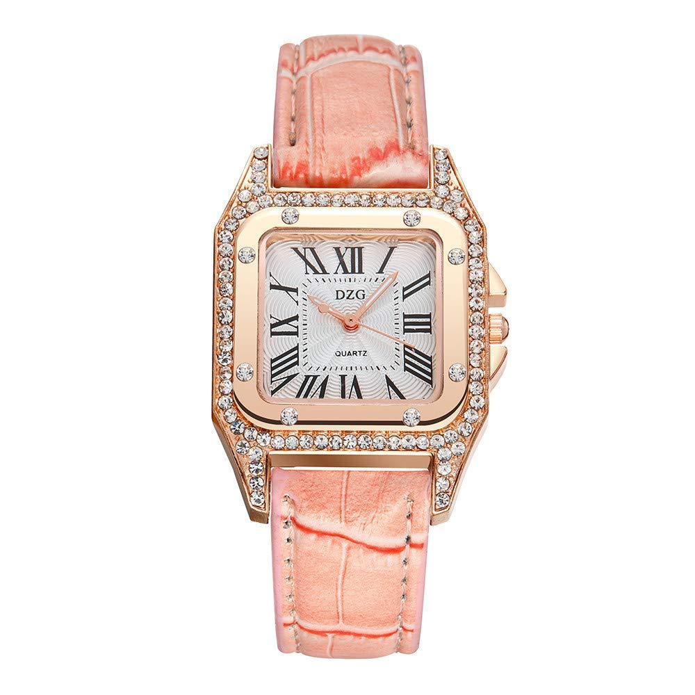 AKwell Women's Fashion Square Rose Gold Dial Leather Band Crystal Analog Quartz Watch