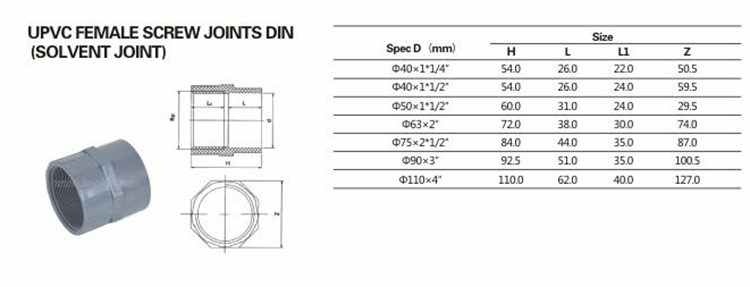 DIN PN10 UPVC Pipe Fitting Screw Joint PVC Male Female Therad Adapter