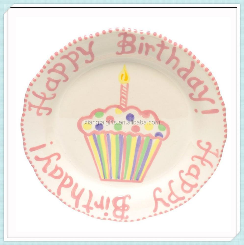 Ceramic Happy Birthday Cake Plate