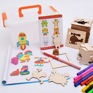 Baby Drawing Toys Set Wooden Toys Color Painted Drawing Creative Template