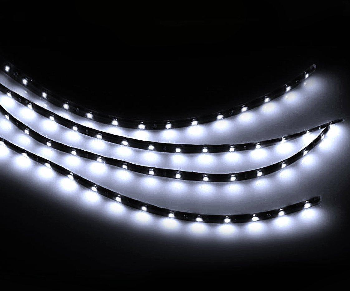 Zento Deals 30cm White LED Car Flexible Waterproof Light Strips (Pack of 4)