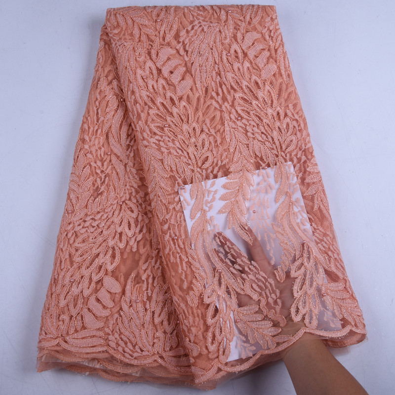 African Laces Embroidered Nigerian Laces Fabric High Quality Dubai French Mesh Lace Fabric 5 Yards With Rhinestones  1576