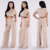 jump suit Polyester Sleeve Crewneck Cropped Length Sweater Knit Top And Wide Leg Pants women slim fit suits