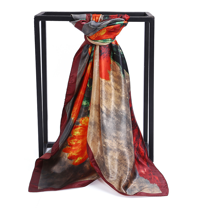 New satin simulation silk scarf Van Gogh sunflower satin print large square scarf 90cm cheap scarves