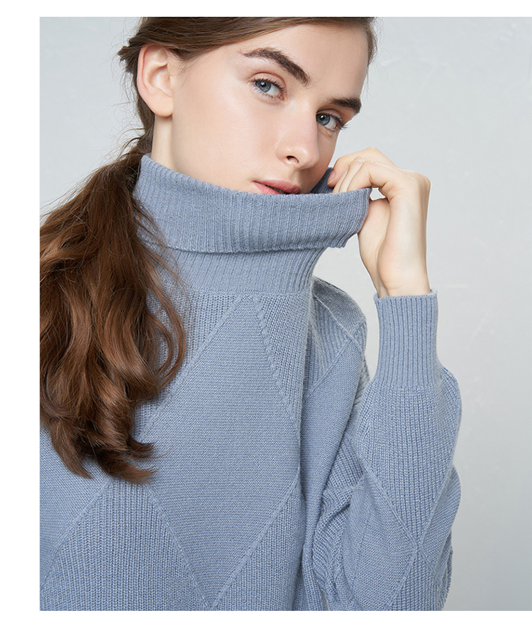High Neck Standard Woman Pullover Sweater Cashmere