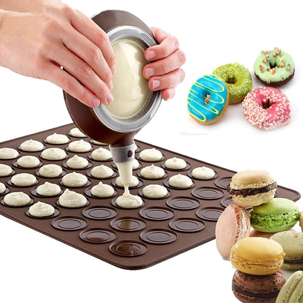Mat Baking Silicone Macaron Sheet Pastry Oven Macaroon Cake Non Stick Mould Set 2 Liner Macarons Cavity Mold 48 cycle Silicone Macaron Baking Mat Decoration Pen Set MyEasyShopping