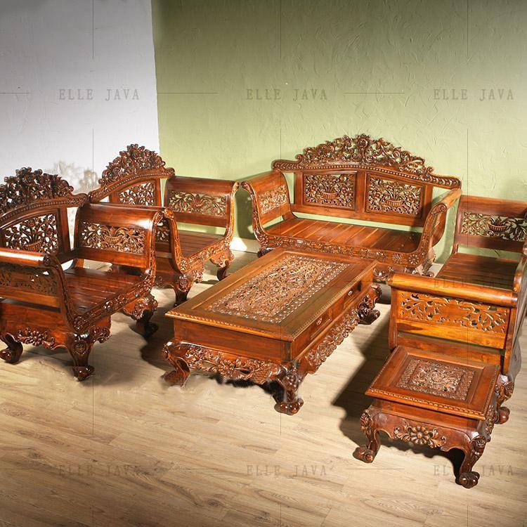 Teak Living Room Furniture: Hand Carving Teak Wood Living Room Furniture Set Of 5