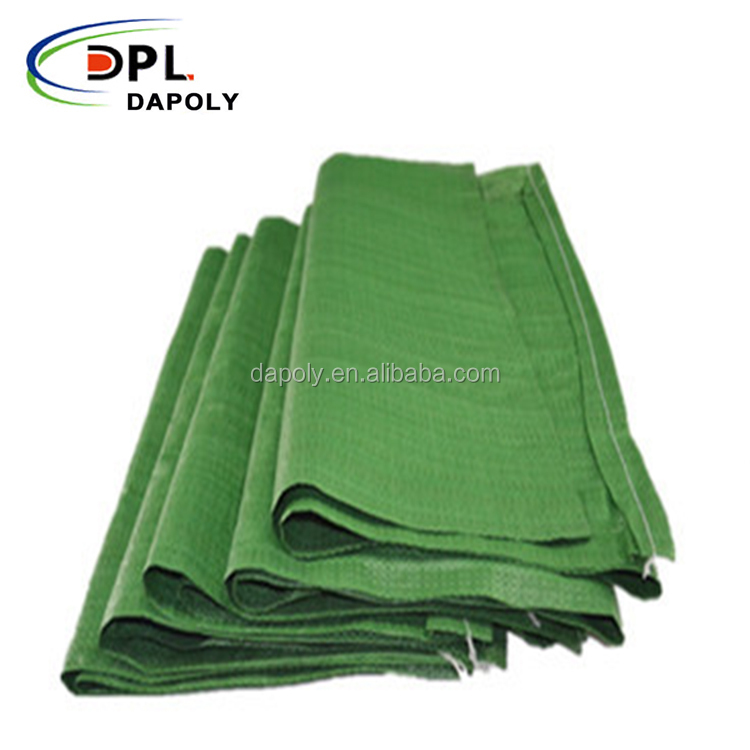 recycled one time used plastic PP woven fabric green garbage bag for sand cement grains