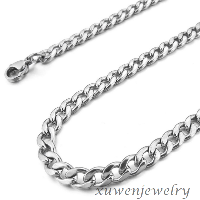 shiny polished mens 8mm wide cuban 316l stainless steel curb chain