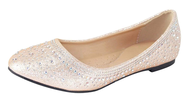 c958d5a56 Get Quotations · Cambridge Select Women's Round Toe Rhinestone Glitter  Crystal Slip-On Ballet Flat