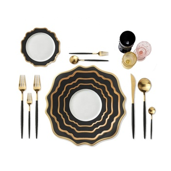 Grace Design Fine Porcelain Dinnerware Plate Black And Gold Rimmed Charger Plate