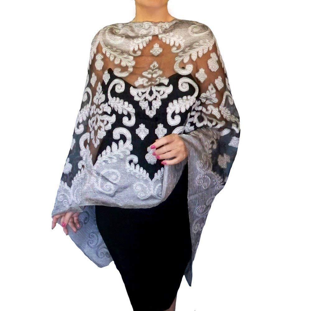 f0467249b3d7f Get Quotations · Plus Size Silver Shawl Grey Wedding Wrap Black Organza Evening  Wear By ZiiCi