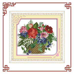 NKF Blooming flowers in basket cross stitch stitch