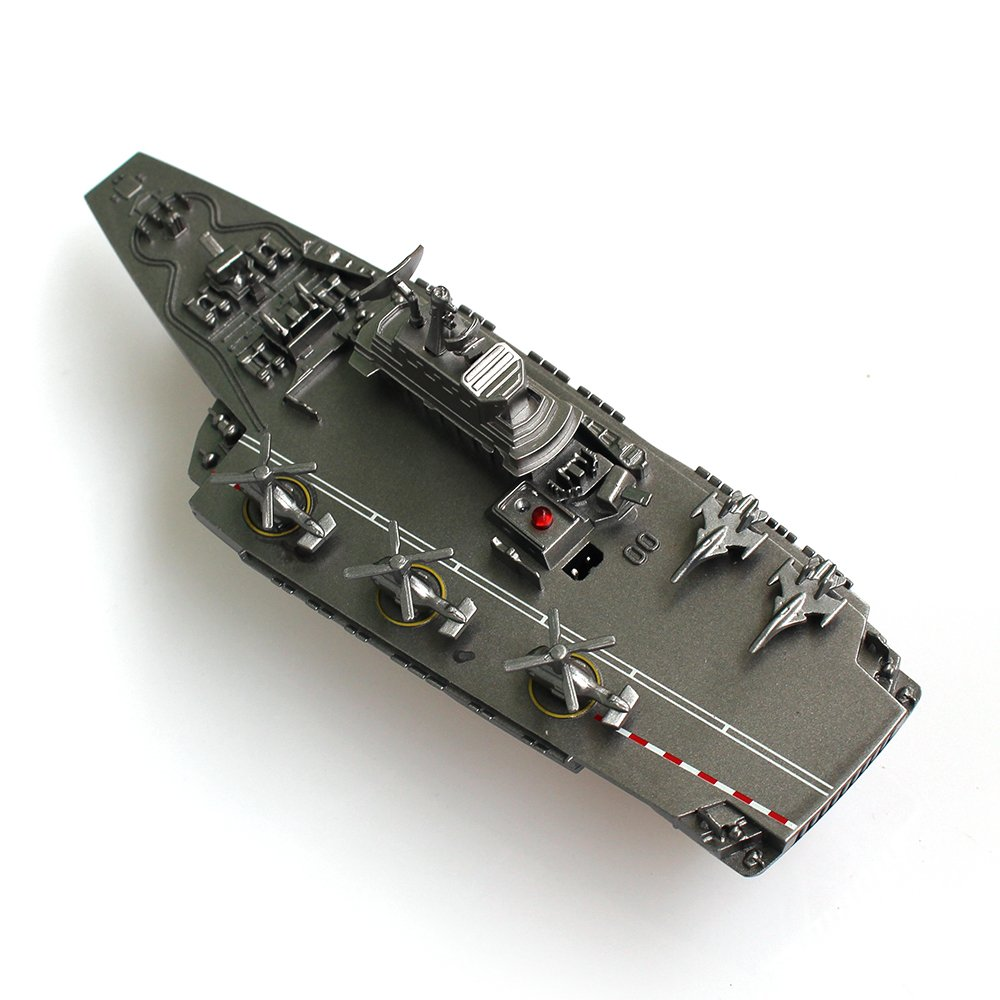 Tipmant Mini Military Remote Control Aircraft Carrier Model RC Boat Ship Speedboat Yacht Electric Water Toy - Silver (Antenna Not Needed)