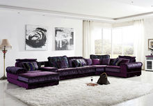 Classical living room sectional purple sofa