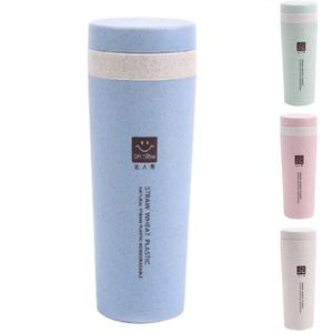 Double Walled Wheat Straw Insulated Portable Reusable Leak Proof Coffee Cup with Lid Mug