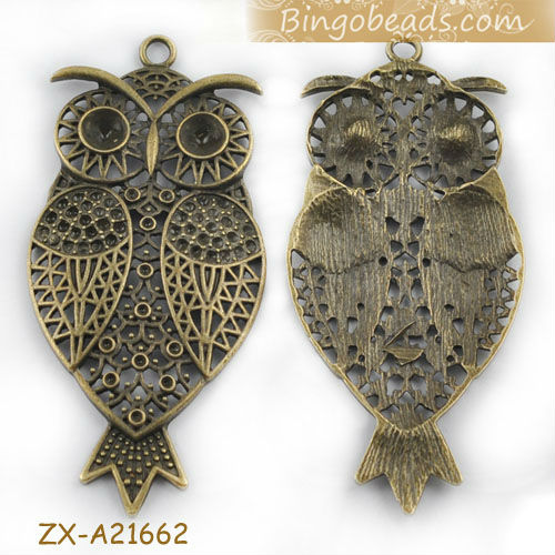 Antique Bronze Filigree Huge Owl Charms With Yellow Diamond Eyes 46x35mm