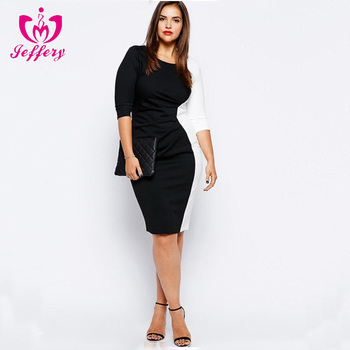 New arrival black and white women work wear pictures office pencil dress for ladies work clothes