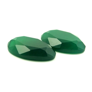 Flat Bottom Natural Oval Cut Green Agate Stones Hot Selling