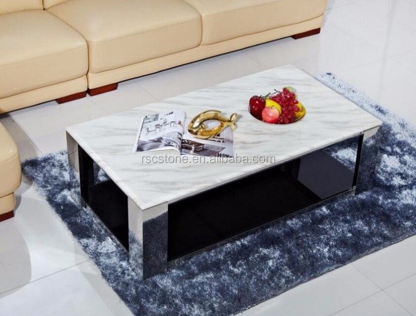 cheap modern carrara white marble top black steel coffee With cheap white marble coffee table