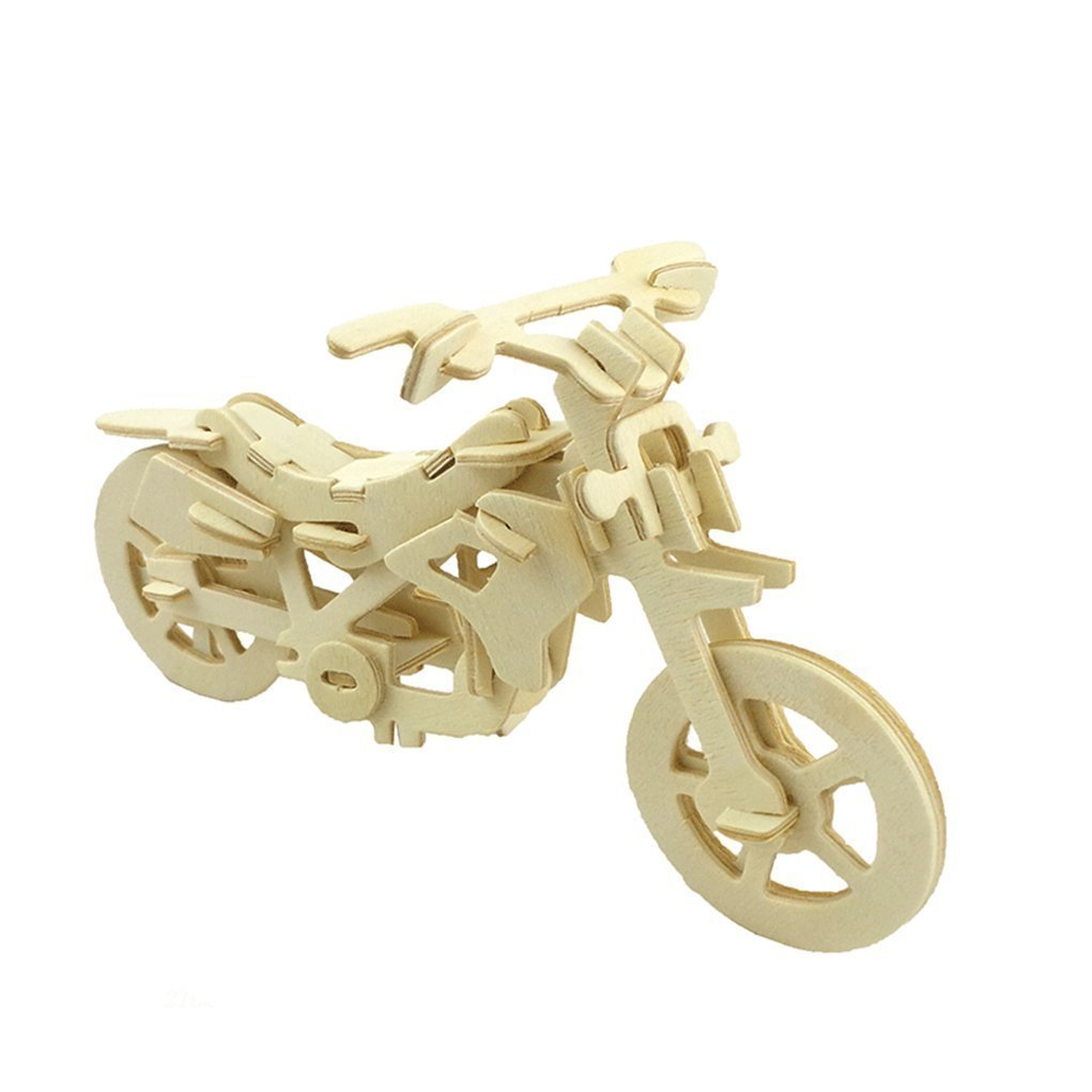 JoyeeeR 3D Wooden Jigsaw Puzzle - Motorcycle - Children Educational Wood Craft Puzzles Toy DIY Kit for Child 3 Year and Up -- Perfect Christmas Gift for Your Kids