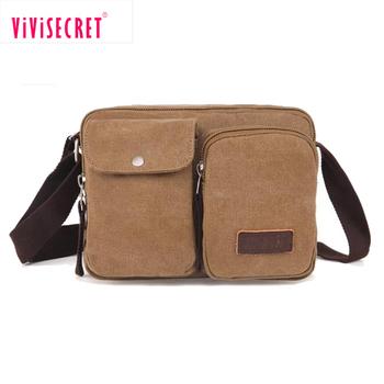 Vivisecret Two Side Small Canvas Shoulder Bag Mens Satchel Messenger