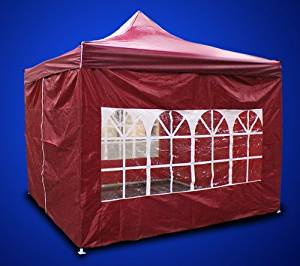 New MTN Gearsmith Heavy Duty Ez Canopy Pop up Tent Canopy Shade 10 X 10' Gazebo with 4 Walls Red