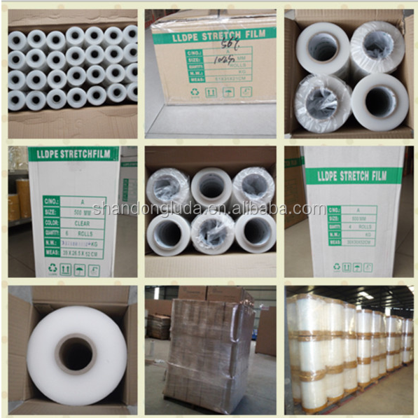 China Luda manufactures white handmade and mechanica LLDPE hot forming stretch film roll