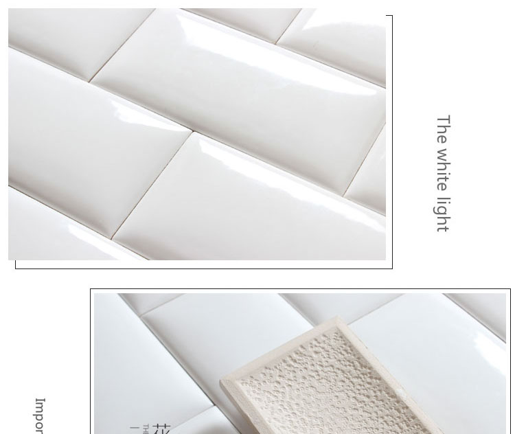 American popular 75x150mm first chocie white color glossy or matt bevel edge white subway tile produced in Foshan