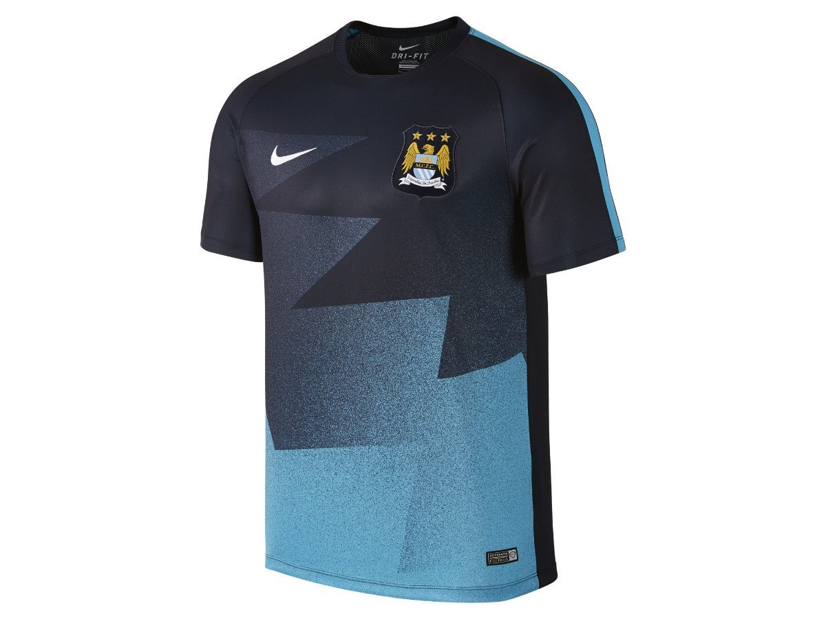 39a644433 Get Quotations · Nike 2015 16 Mens Manchester City FC Pre-Match Training  Soccer Short-Sleeve