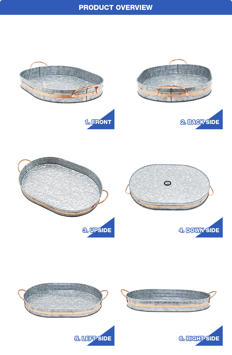 Factory wholesale oval galvanized tray with copper decor